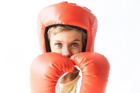 boy in boxing gloves and helmet