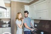 couple preparing coffee