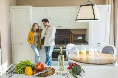 Young couple with wine