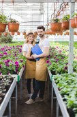 Young male and female owners of glasshouse holding clipboards by flowers