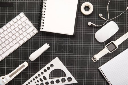 Smartwatch and office supplies