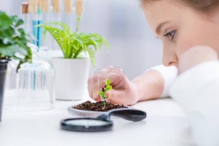 Girl with green plant in lab