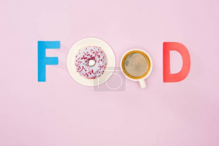 Food sign with donuts and cup of coffee