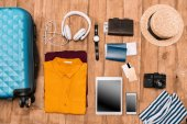 summer vacation things neatly organized