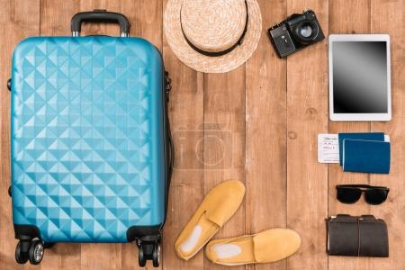 Background with travel accessories