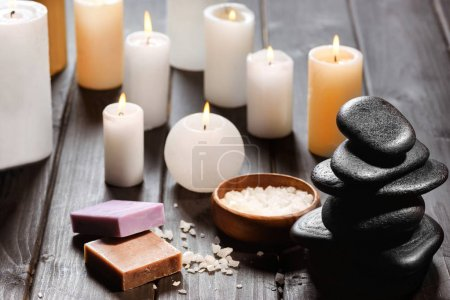 Spa stones and candles