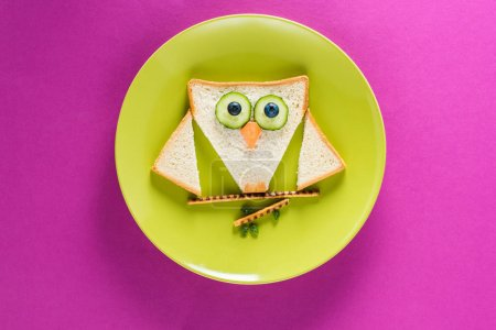 Photo for Funny colorful breakfast for child in shape of owl on green plate isolated on pink - Royalty Free Image
