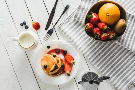 pancakes and fruits for healthy breakfast