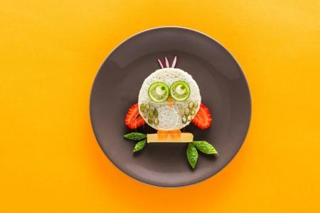 Photo for Funny colorful breakfast for child in shape of owl isolated on yellow - Royalty Free Image