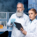 Laboratory technicians in lab coats