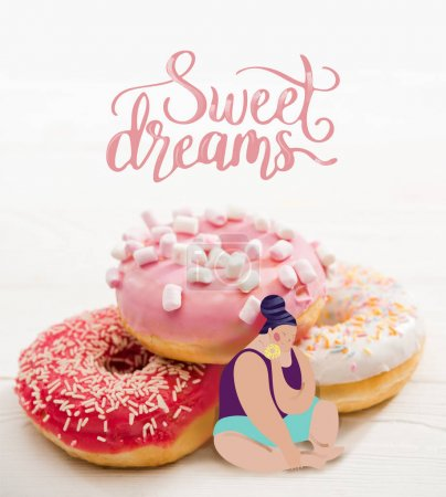 Photo for Fat woman sitting near pile of tasty donuts and dreaming - Royalty Free Image