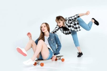 Young women with skateboard
