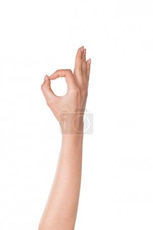 Photo for Human hand showing okay sign isolated on white - Royalty Free Image