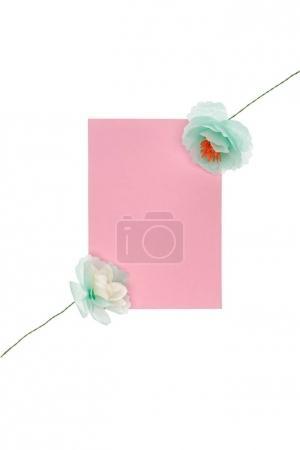 fleurs avec carte de voeux