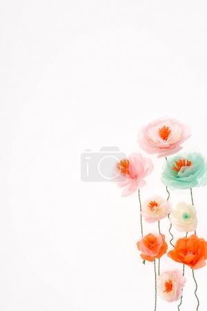 Foto de Vista cercana de flores decorativas hechas a mano aislada sobre fondo blanco - Imagen libre de derechos