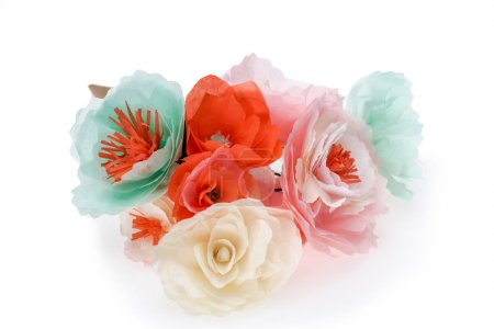 Photo for Close up view of colorful decorative handmade flowers isolated on white - Royalty Free Image