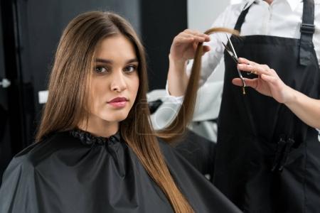 Photo pour Styliste coupe les cheveux de belle jeune femme - image libre de droit