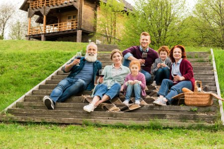 family having picnic in village