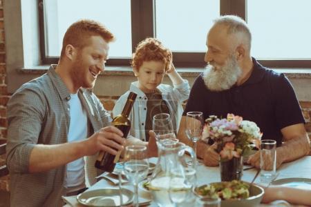 men having dinner