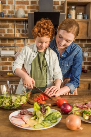 son helping mother cooking dinner