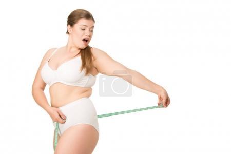 Shocked woman measuring butt