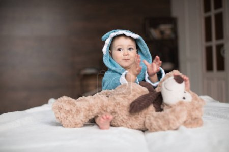 baby boy with teddy bear