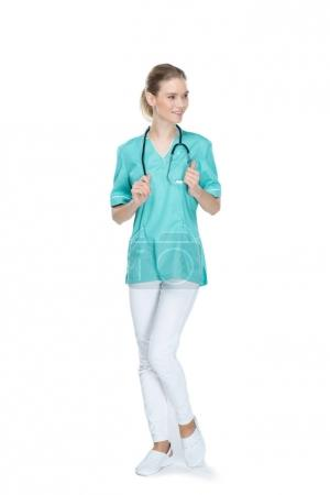 young smiling nurse with stethoscope