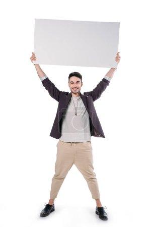 caucasian man holding blank board
