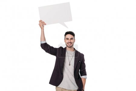 man holding blank message bubble