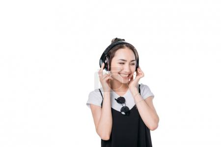 asian girl listening music