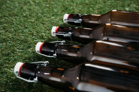 Beer bottles lying on grass