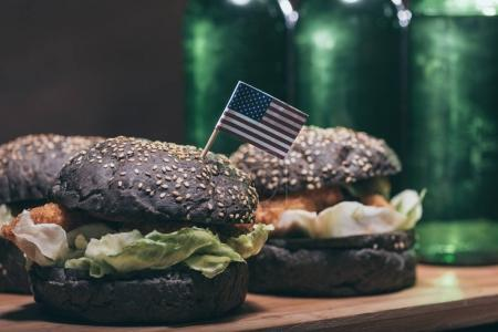 tasty burgers with little usa flag