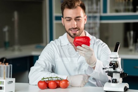 Photo for Young male scientist holding pepper while working with vegetables in laboratory - Royalty Free Image