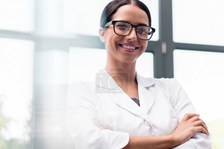 Beautiful scientist in eyeglasses