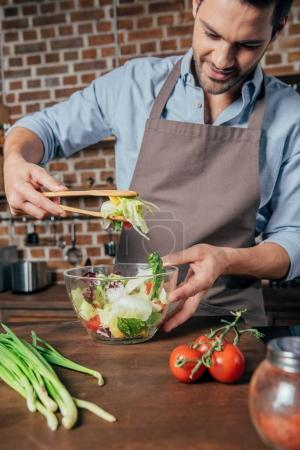 Man making salad