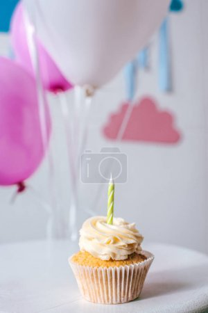 delicious cupcake with candle