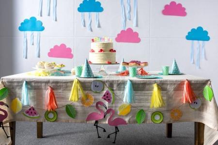birthday cake on festive table