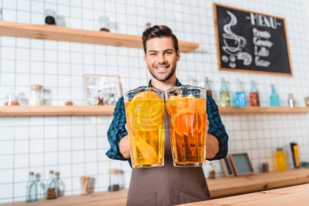bartender with refreshing lemonades