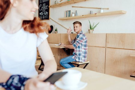 Couple getting to know each other in cafe