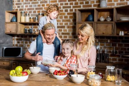 happy family at breakfast