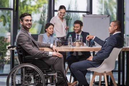 smiling disabled businessman