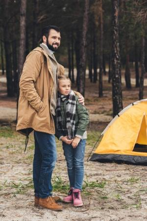 father and daughter on camping trip