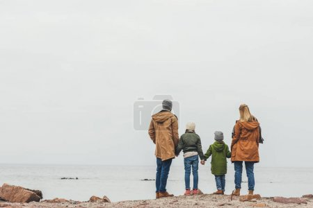 Family looking at sea