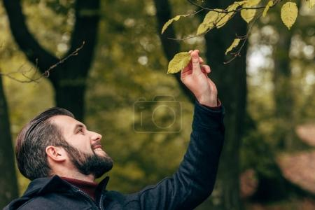 smiling bearded man in park