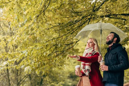 couple with umbrella in autumn park