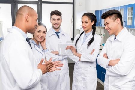 Young doctors discussing work