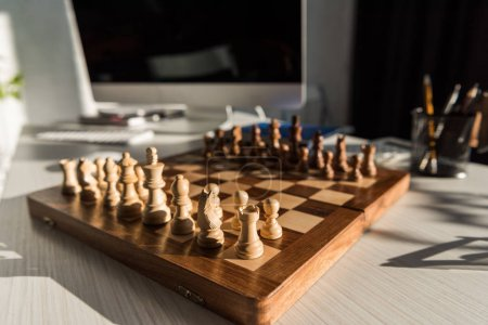 close-up shot of chess board at office workplace