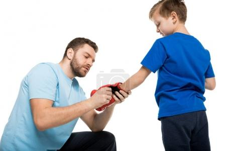 father and son with boxer gloves