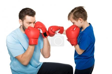 father with son during boxing