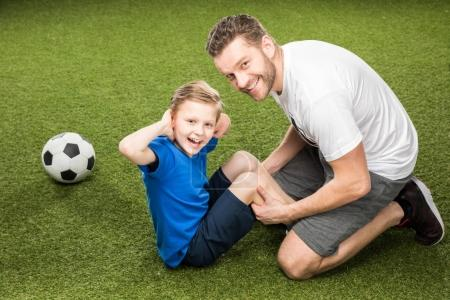 father and son training together